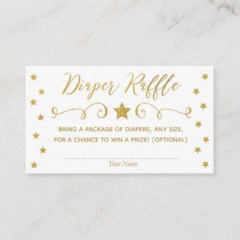 Gold Twinkle Little Star Baby Diaper Raffle Card