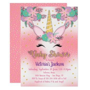Gold Unicorn Floral Baby Shower Invitation