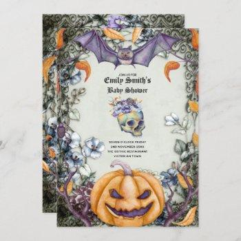 Goth Halloween Baby Shower Purple Orange Skulls Invitation