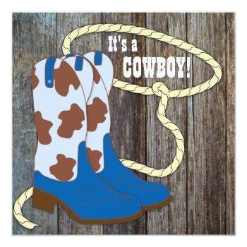 Gray And Blue Barn Wood Cowboy Baby Shower Invitation
