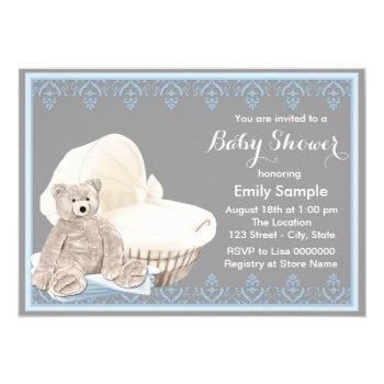 Gray And Blue Teddy Bear Baby Shower Invitation