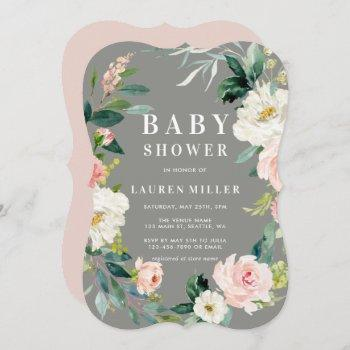 Gray Blush Floral Wreath Baby Shower