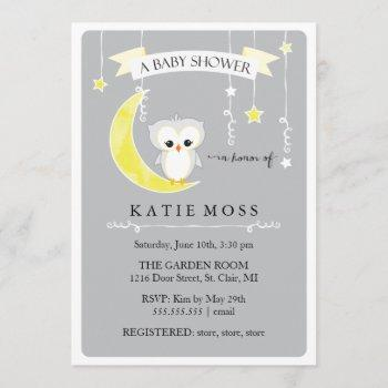 Gray Little Owl | Baby Shower Invitation