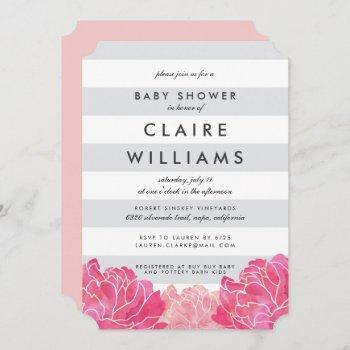 Gray Stripe & Pink Peony Baby Shower