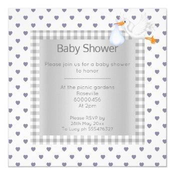 Gray White Gingham Babyshower Single Stork Invitation