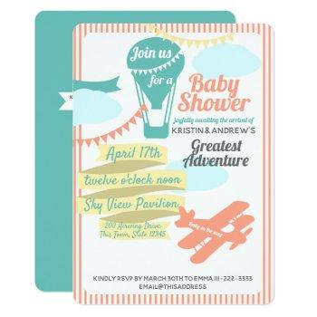 Great Adventure Hot Air Balloon And Airplane Invitation