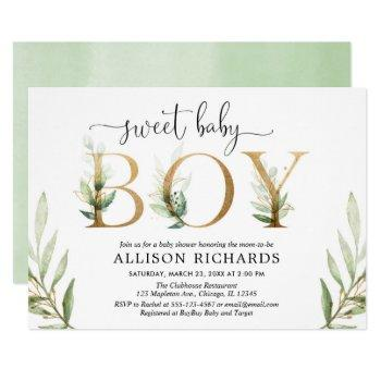 Green And Gold Greenery Modern Boy Baby Shower Invitation