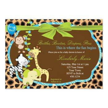 Green Bow Baby Shower Invitation