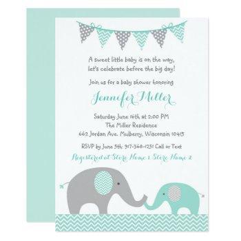 Green Chevron Elephant Baby Shower Invitation