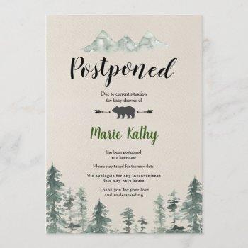 Green Forest Baby Shower Postponed Announcement