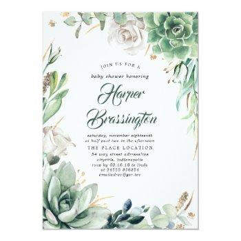 Greenery And Gold | Elegant Summer Baby Shower Invitation