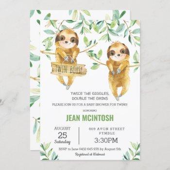Greenery Cute Sloth Baby Shower Twin Boys Twins Invitation