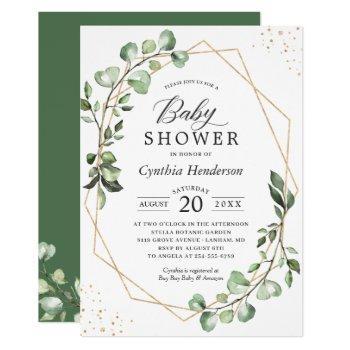 Greenery Eucalyptus Geometric Neutral Baby Shower Invitation