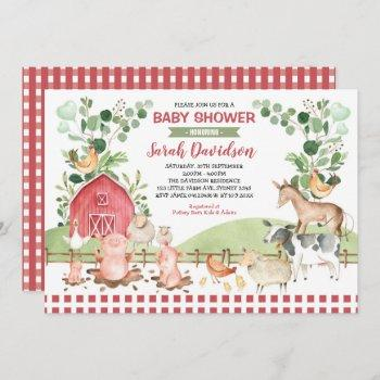 Greenery Farm Animals Barnyard Boy Baby Shower Invitation