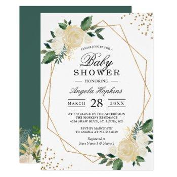 Greenery Floral Gold Glitters Baby Shower Brunch Invitation