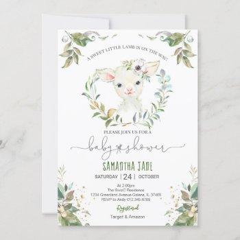 Greenery Floral Lamb Baby Shower Invitation