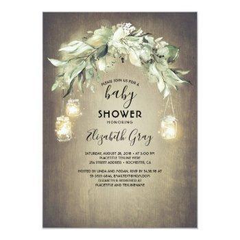 Greenery Mason Jar Lights Rustic Baby Shower Invitation