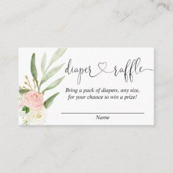 Greenery Pink Girl Baby Shower Diaper Raffle Cards