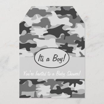 Grey Camo Camouflage Boy Baby Shower