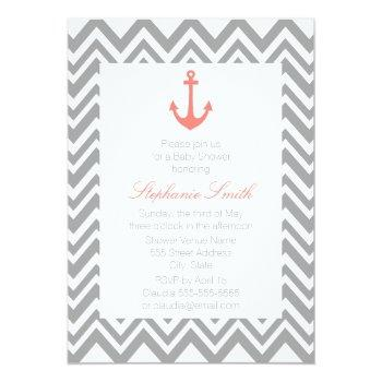 Grey Chevron And Coral Pink Nautical Baby Shower Invitation