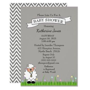 Grey Chevron Little Lamb Baby Shower Invitation