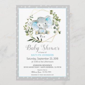 Grey Elephant Modern Baby Shower Invitation