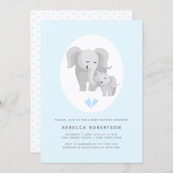 Grey Elephant Mother& Baby Boy Shower Light Blue Invitation