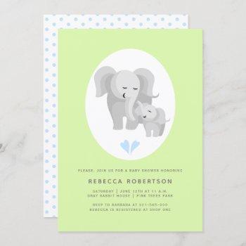 Grey Elephant Mother& Baby Boy Shower Light Green Invitation