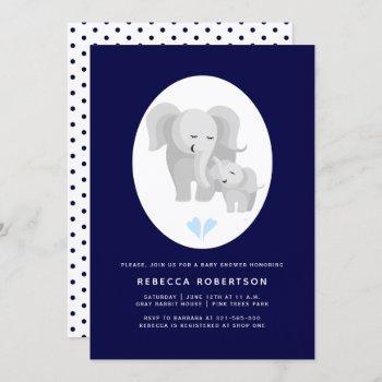 Grey Elephant Mother& Baby Boy Shower Navy Blue Invitation