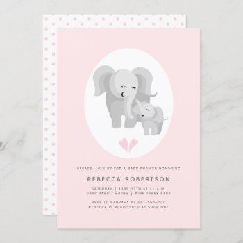 Grey Elephant Mother& Baby Boy Shower Pink Invitation