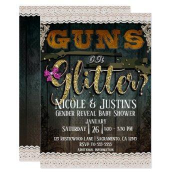 Guns Or Glitter Wood Lace Gender Reveal Shower Invitation