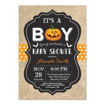 Halloween Baby Boy Shower Invitation Card Burlap