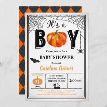 Halloween Baby Boy Shower Invitation. It's A Boy Invitation