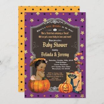 Halloween Baby Girl Shower Little Pumpkin Purple Invitation