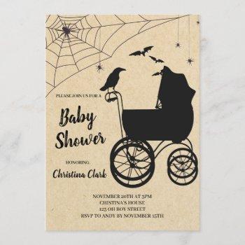 Halloween Baby Shower Spooky Gothic Invitation