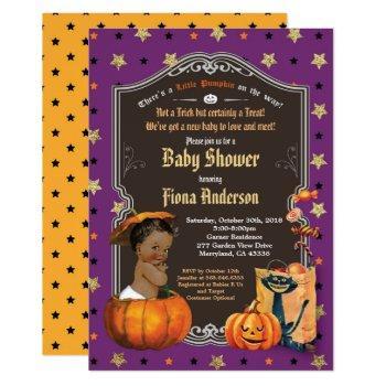 Halloween Pumpkin Baby Boy Shower Purple Gold Invitation