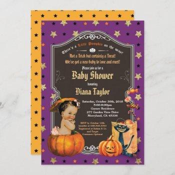 Halloween Pumpkin Baby Girl Shower Purple Gold