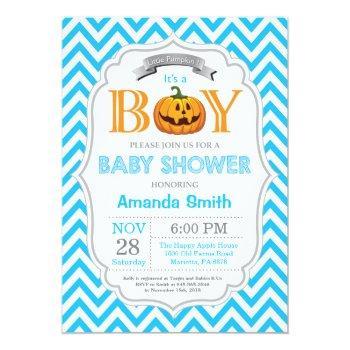 Halloween Pumpkin Baby Shower Invitation Boy