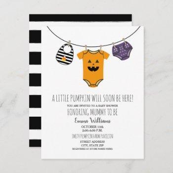 Halloween Pumpkin Clothesline Baby Shower Invitation