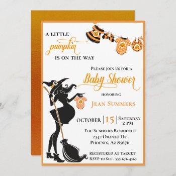 Halloween Pumpkin On The Way Witch Baby Shower Invitation