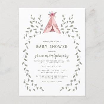 Hand Drawn Botanical Teepee Baby Girl Baby Shower Invitation Postcard