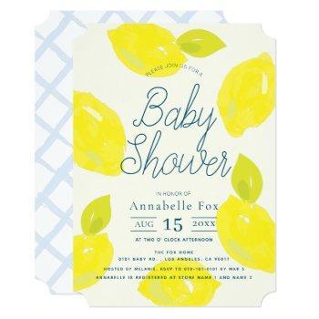 Hand Painted Lemon Blue Baby Shower Invitation