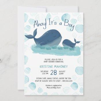 Happy Whale Watercolor Ahoy Its A Boy Baby Shower