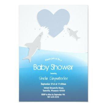 Heart Bites And Sharks | Baby Shower Invitation