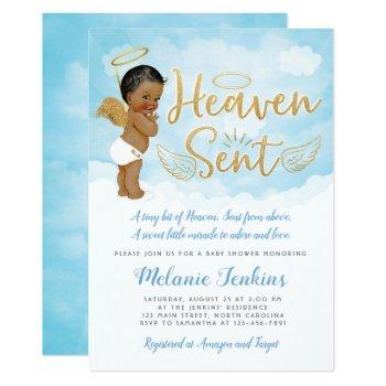 Heaven Sent Angel Boy Baby Shower Invitation