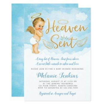 Heaven Sent Angel Boy Baby Shower Invitation
