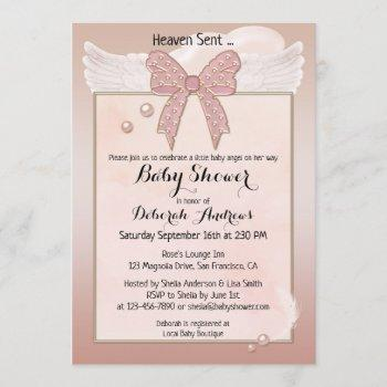 Heaven Sent Angel Wing Girl Baby Shower