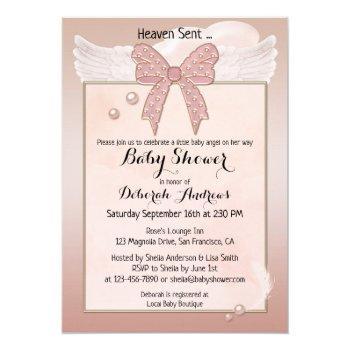 Heaven Sent Angel Wing Girl Baby Shower Invitation
