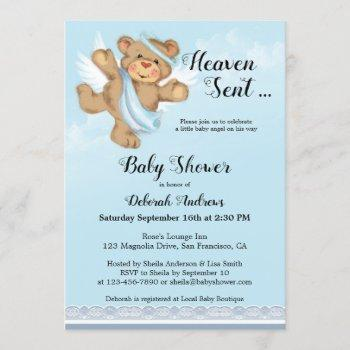 Heaven Sent Angel Wings Boy Baby Shower
