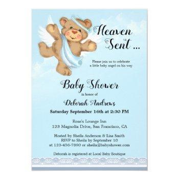 Heaven Sent Angel Wings Boy Baby Shower Invitation